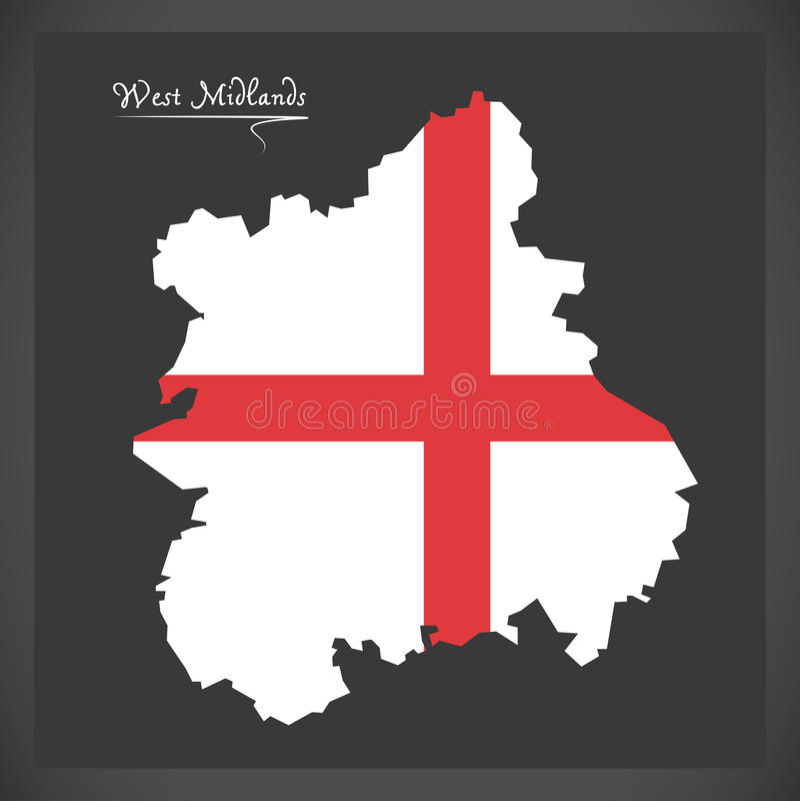 Mapa de West Midlands con la bandera del ejemplo de Inglaterra libre illustration