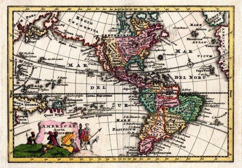 Mapa 1730 de Wiegel del norte y de Suramérica fotos de archivo