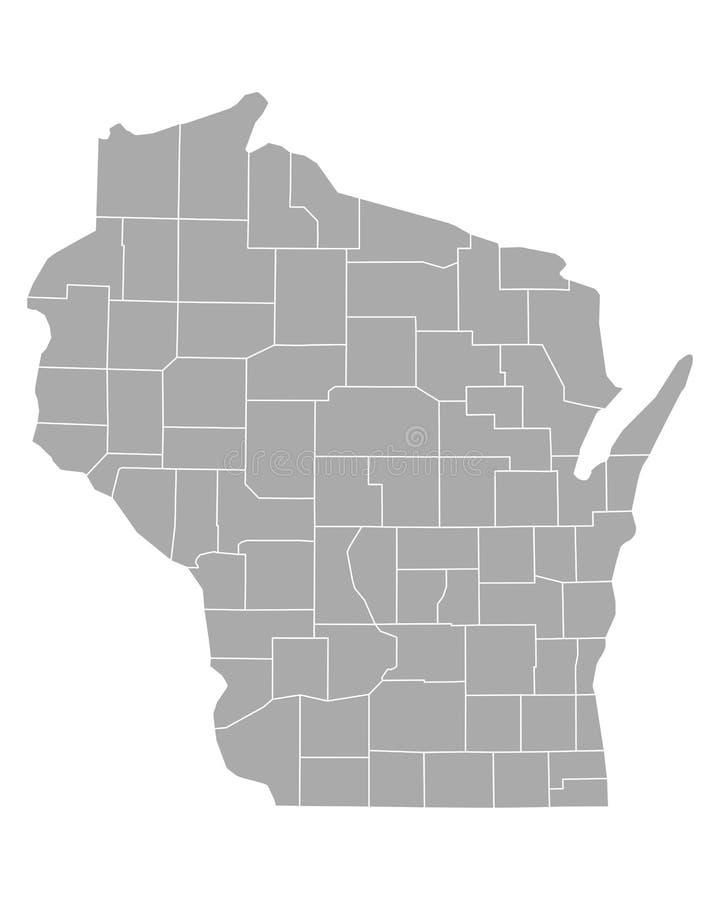 Mapa de Wisconsin ilustración del vector