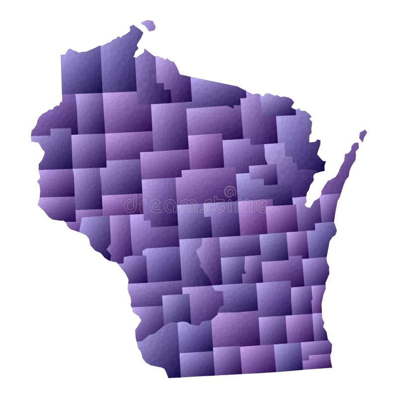 Mapa de Wisconsin stock de ilustración