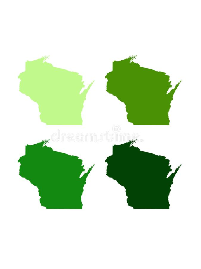 Mapa de Wisconsin - U S estado situado en los Estados Unidos norcentrales fotografía de archivo libre de regalías
