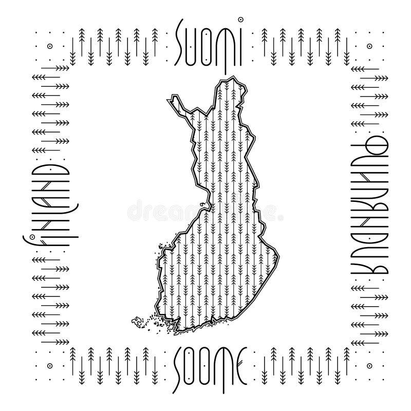 Mapa decorativo de Finlandia ilustración del vector