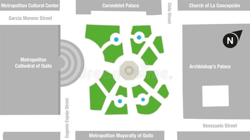 Mapa del área del cuadrado cuadrado o grande de la independencia en el centro histórico de la ciudad de Quito libre illustration
