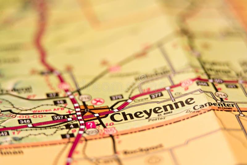 Mapa del área de Cheyenne Wyoming imagen de archivo libre de regalías