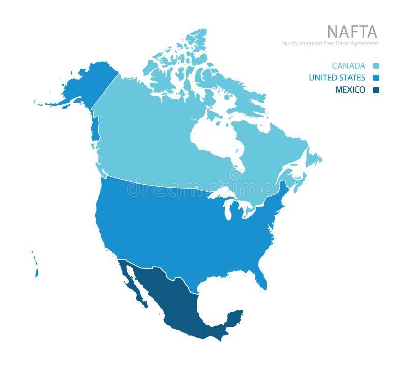 Mapa del acuerdo de libre comercio del NAFTA norteamericano libre illustration
