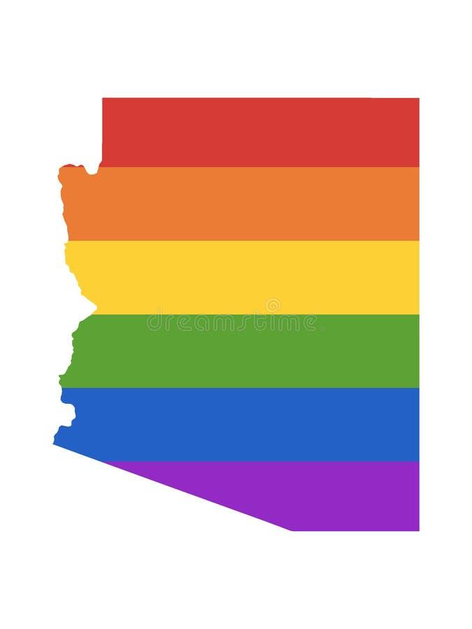 Mapa del arco iris de LGBT del estado de los E.E.U.U. de Arizona stock de ilustración