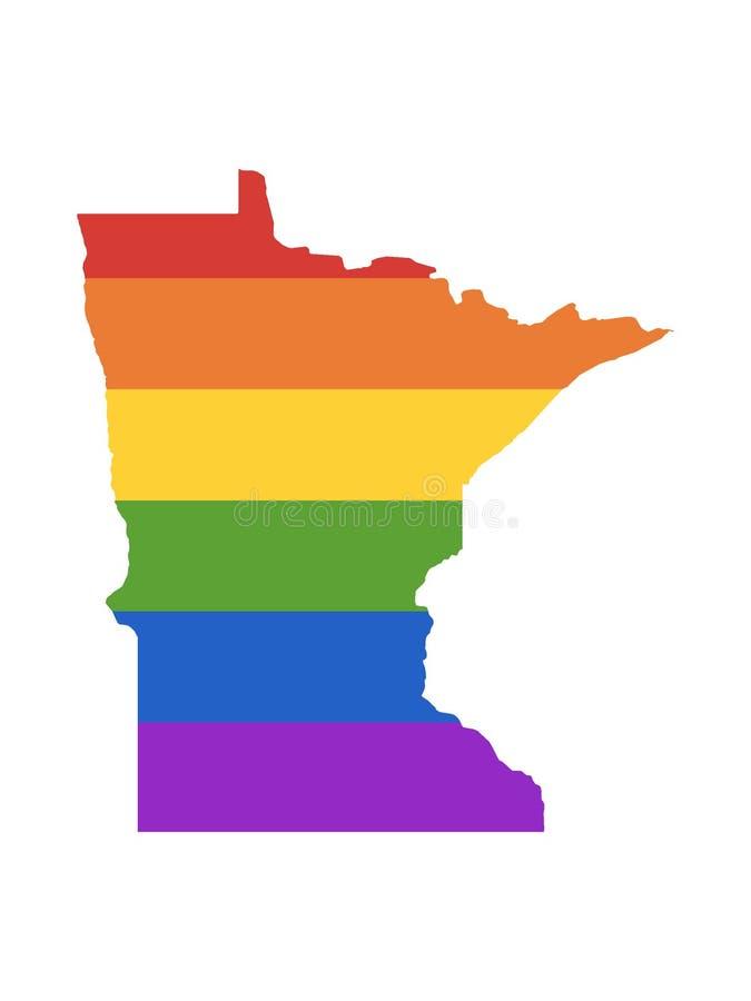 Mapa del arco iris de LGBT del estado de los E.E.U.U. de Minnesota ilustración del vector
