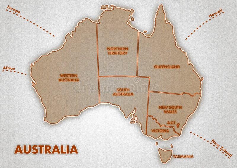 Mapa del australiano fotografía de archivo