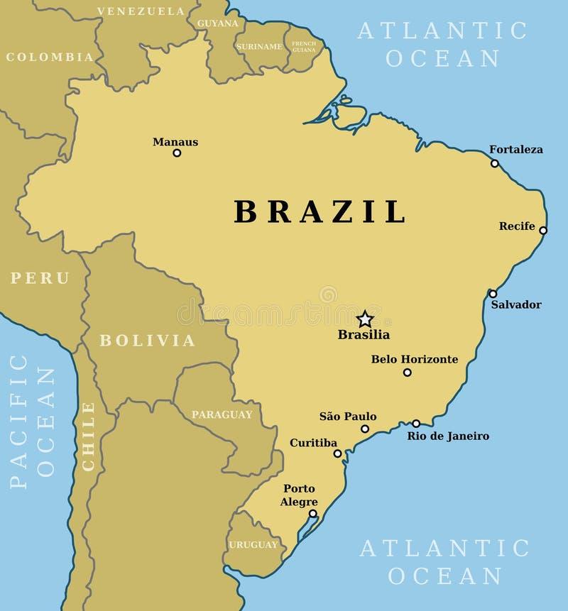 Mapa del Brasil ilustración del vector