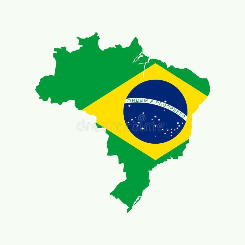 Mapa del Brasil con la bandera del Brasil dentro libre illustration