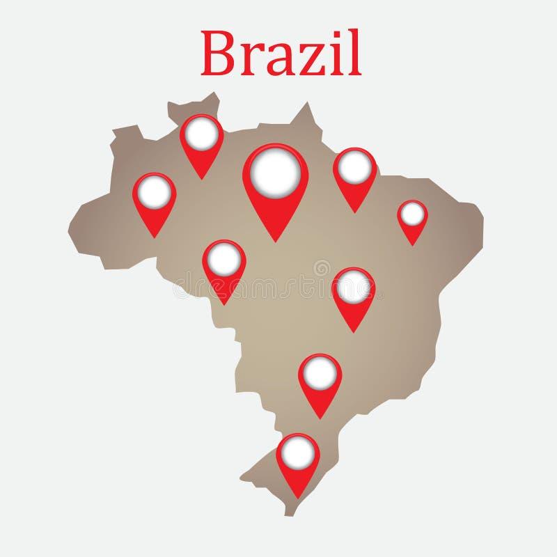 Mapa del Brasil con las etiquetas ilustración del vector