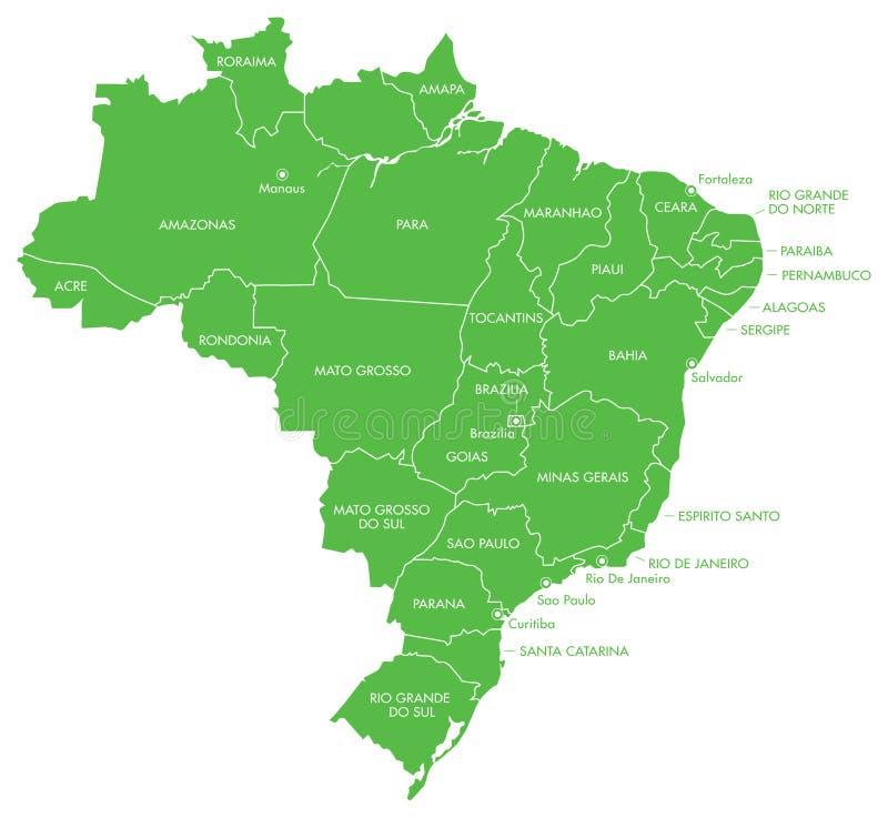 Mapa del Brasil con los estados stock de ilustración