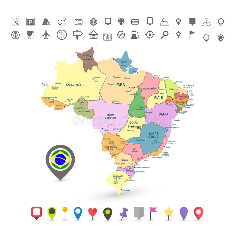 Mapa del Brasil con los iconos de la bandera y de la navegación stock de ilustración