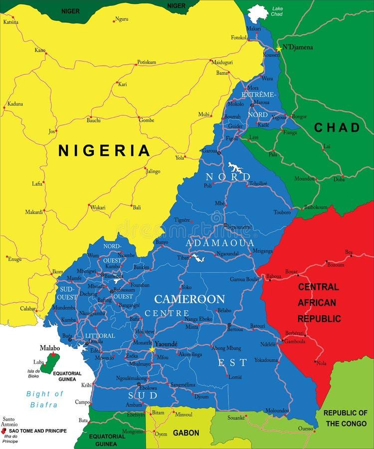 Mapa del Camerún stock de ilustración