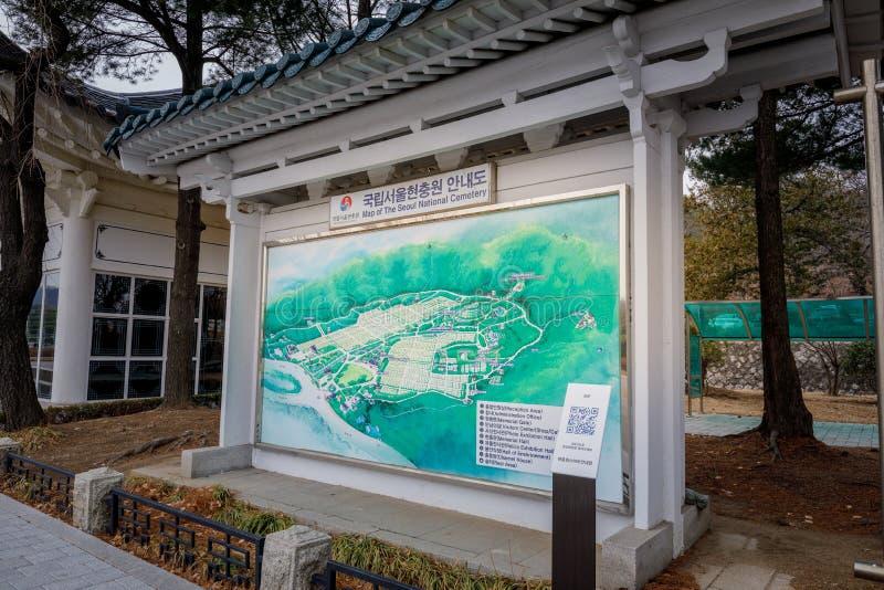 Mapa del cementerio nacional de Seul, que está situado en Dongjak-Dong, Dongjak-gu, Seul, Corea del Sur imagenes de archivo
