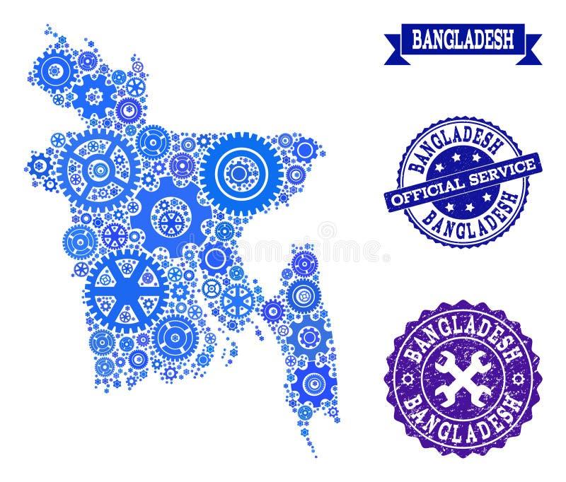 Mapa del collage de Bangladesh con las ruedas de engranaje y los sellos de goma para el servicio ilustración del vector