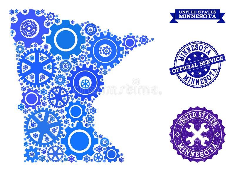 Mapa del collage del estado de Minnesota con los sellos del diente y de goma para los servicios stock de ilustración