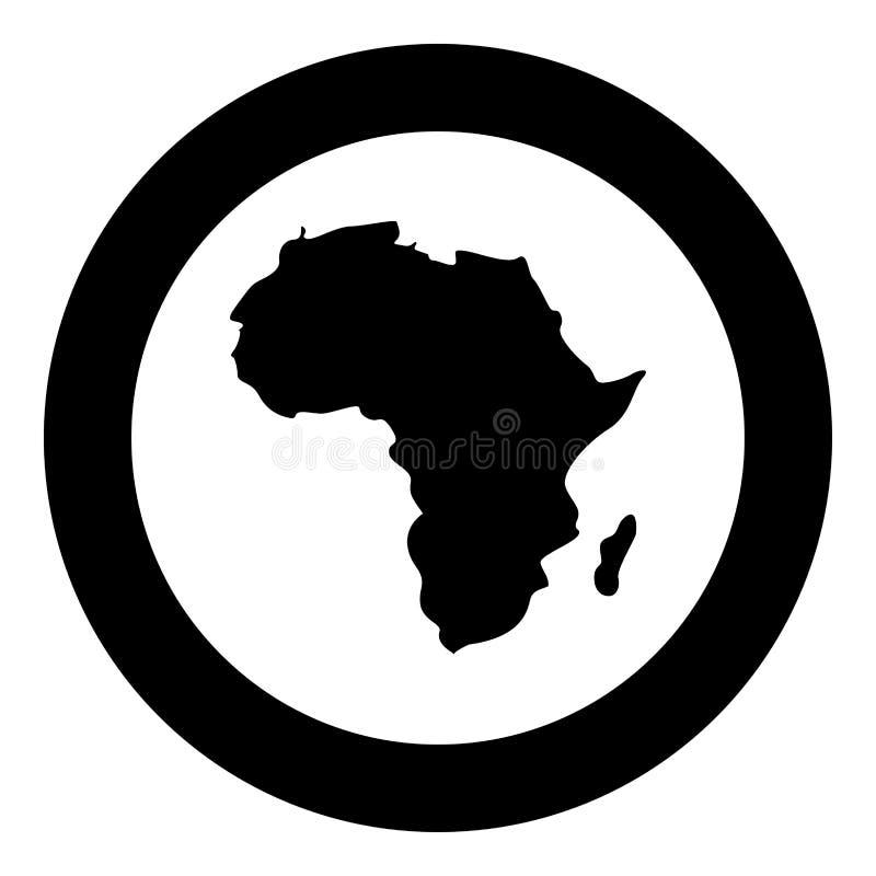 Mapa del color del negro del icono de África en el círculo redondo libre illustration