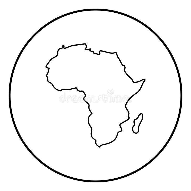 Mapa del color del negro del icono de África en el círculo redondo ilustración del vector
