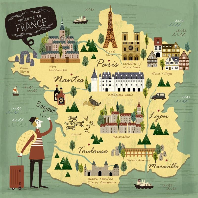 Mapa del concepto del viaje de Francia stock de ilustración