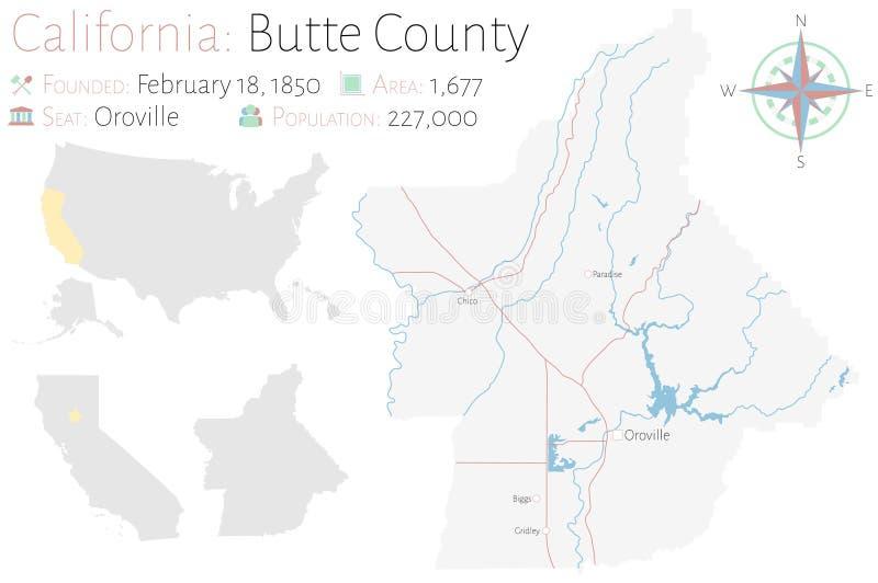 Mapa del condado de Butte en California stock de ilustración