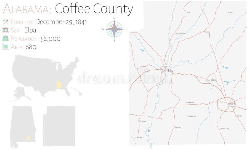 Mapa del condado de Coffee en Alabama libre illustration