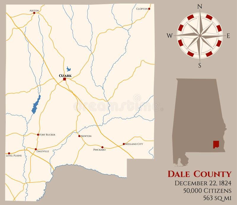 Mapa del condado de Dale en Alabama libre illustration