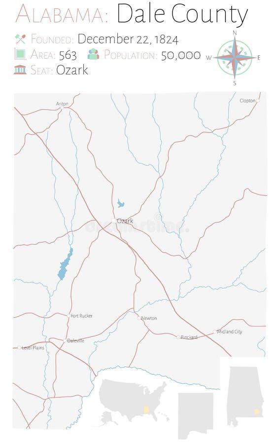 Mapa del condado de Dale en Alabama ilustración del vector