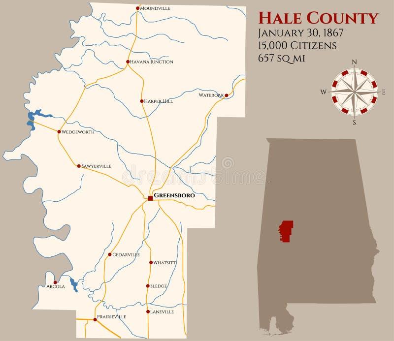 Mapa del condado de Hale en Alabama ilustración del vector