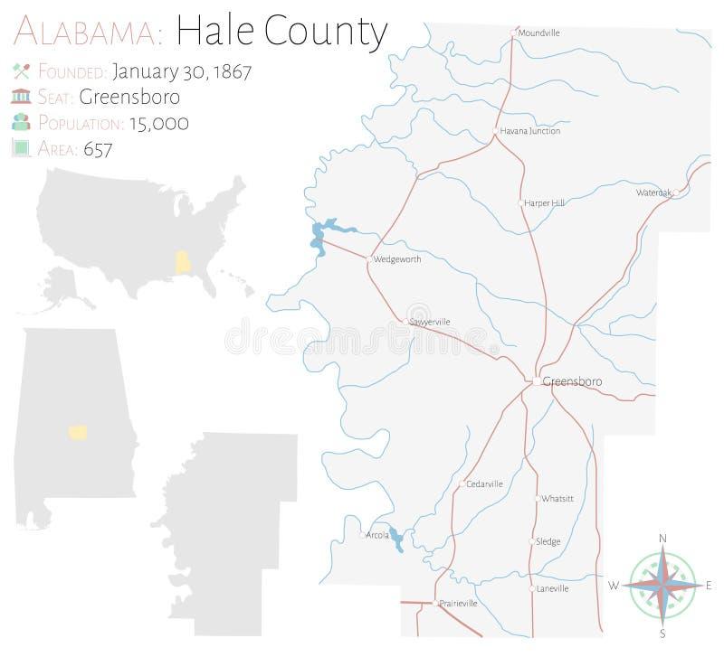 Mapa del condado de Hale en Alabama libre illustration