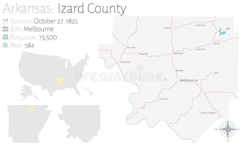Mapa del condado de Izard en Arkansas libre illustration