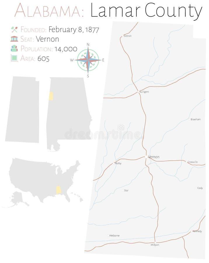 Mapa del condado de Lamar en Alabama ilustración del vector