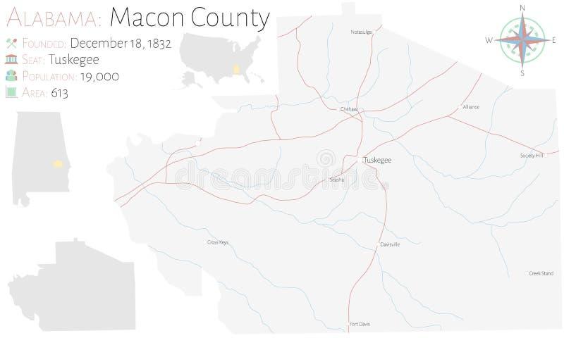 Mapa del condado de Macon en Alabama stock de ilustración