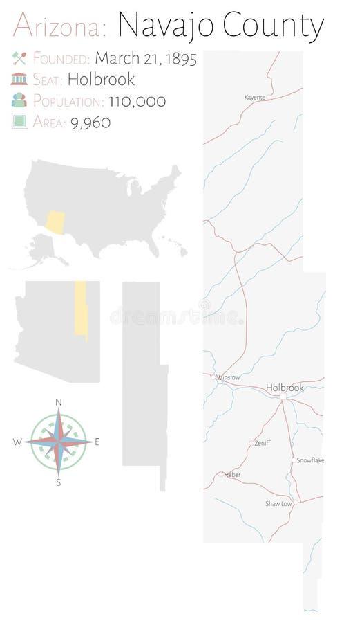Mapa del condado de Navajo en Arizona ilustración del vector