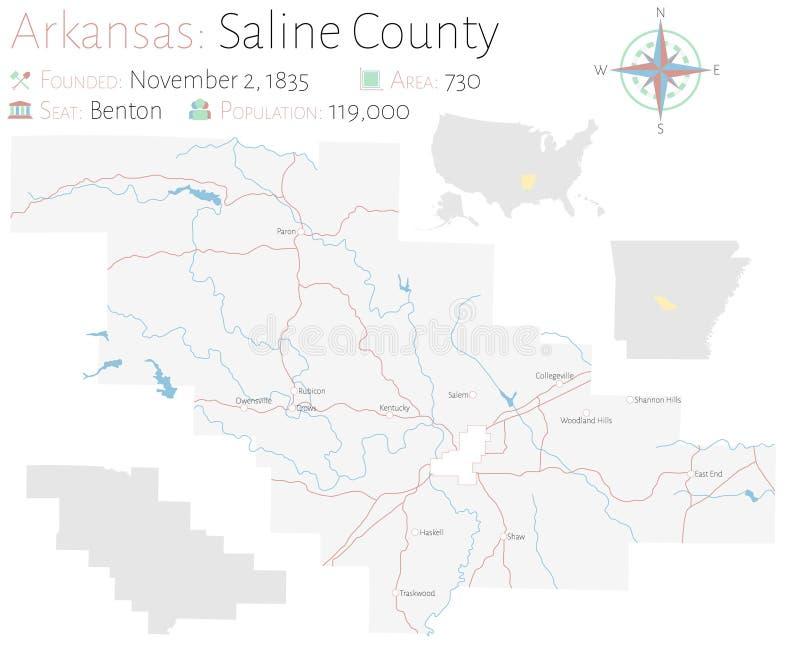 Mapa del condado de Saline en Arkansas libre illustration