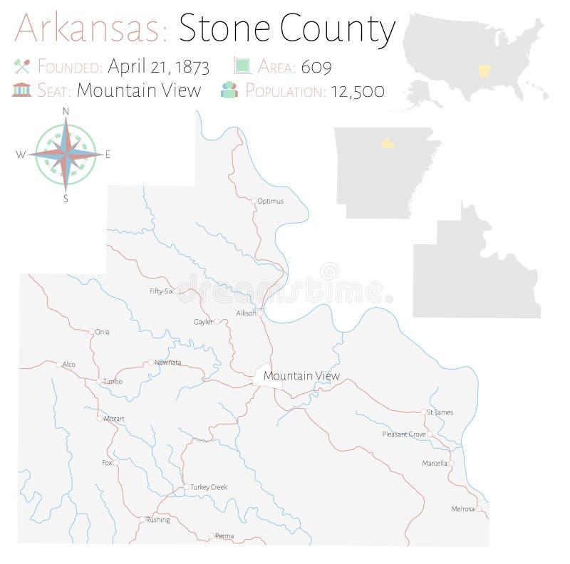 Mapa del condado de Stone en Arkansas stock de ilustración