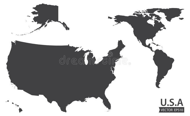 Mapa del continente americano y los E.E.U.U. incluyendo Alaska y Hawaii Mapa similar en blanco de los E.E.U.U. en el fondo blanco libre illustration