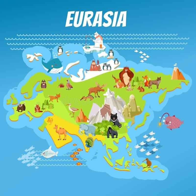 Mapa del continente de Eurasia de la historieta con los animales stock de ilustración