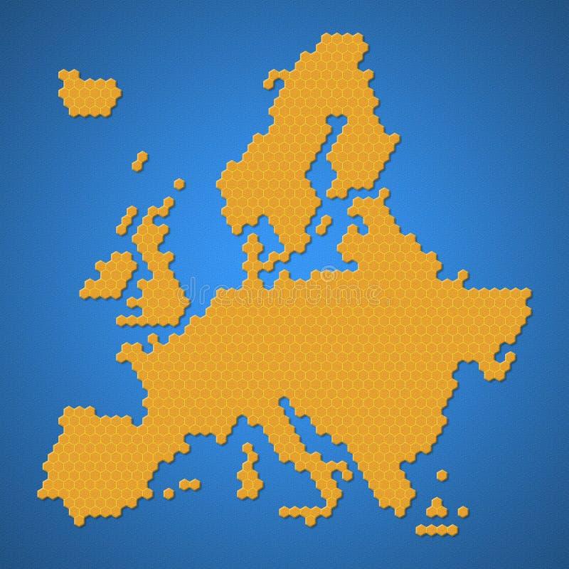 Mapa del continente de la región de Europa con estilo de la forma de la colmena de la abeja o del panal o de la miel de la miel c stock de ilustración