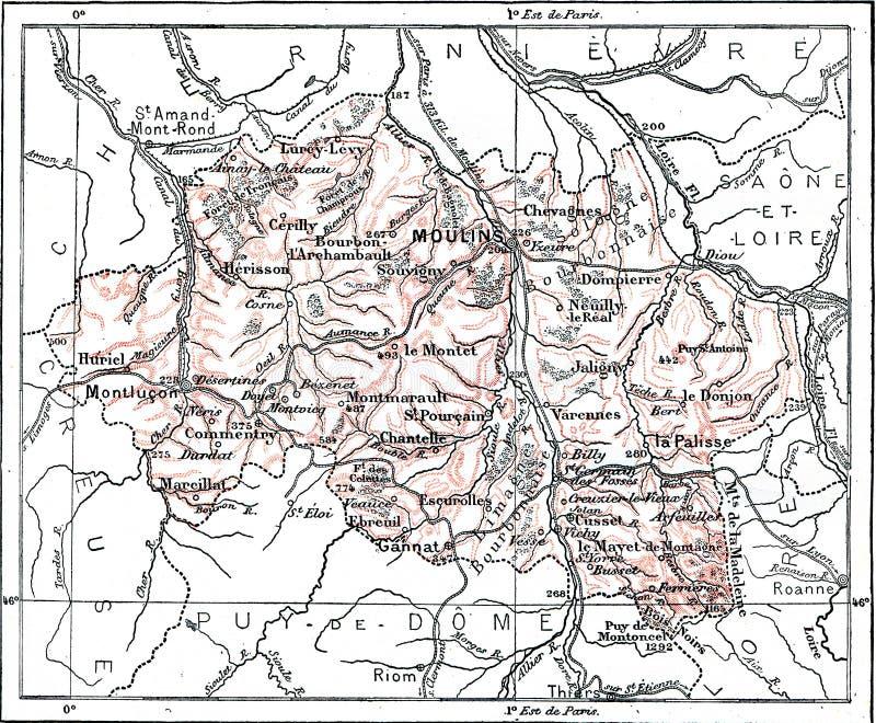 Mapa del Departamento de Aliado, grabado vintage fotografía de archivo