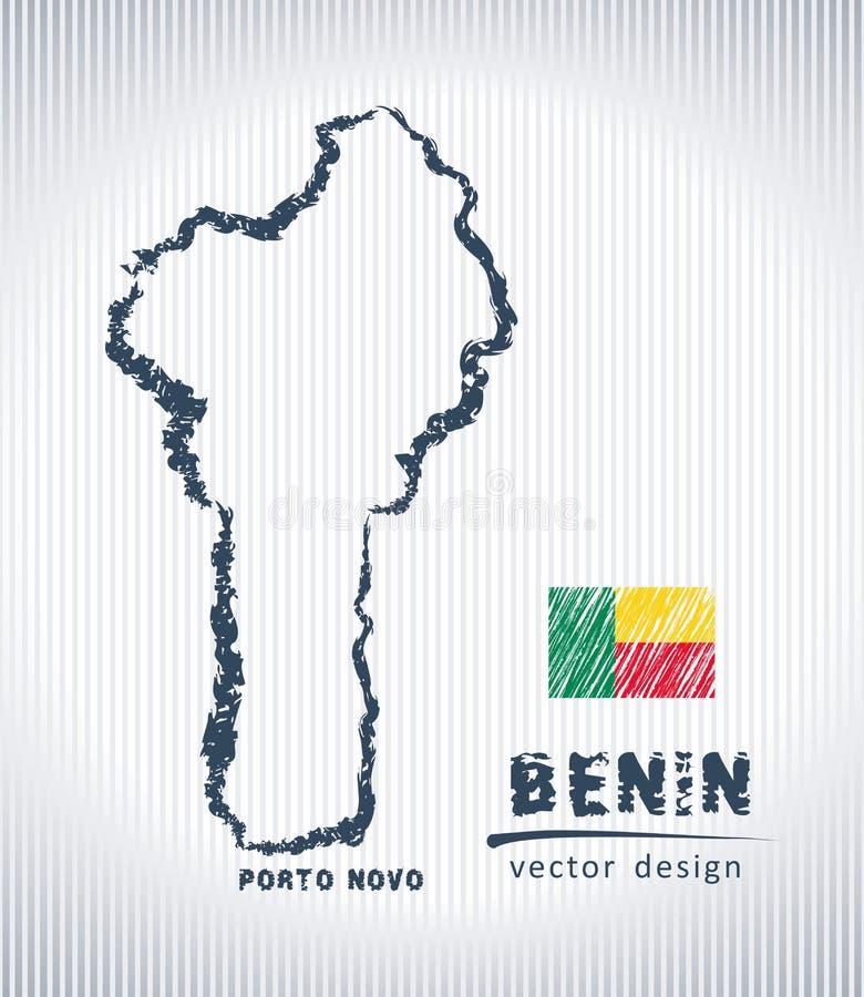 Mapa del dibujo de tiza del vector de Benin aislado en un fondo blanco libre illustration