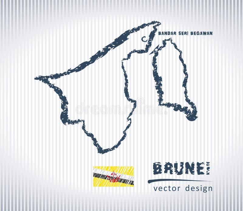 Mapa del dibujo de tiza del vector de Brunei aislado en un fondo blanco ilustración del vector