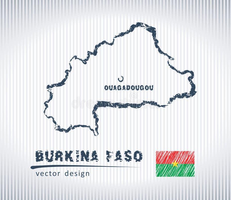 Mapa del dibujo de tiza del vector de Burkina Faso aislado en un fondo blanco stock de ilustración