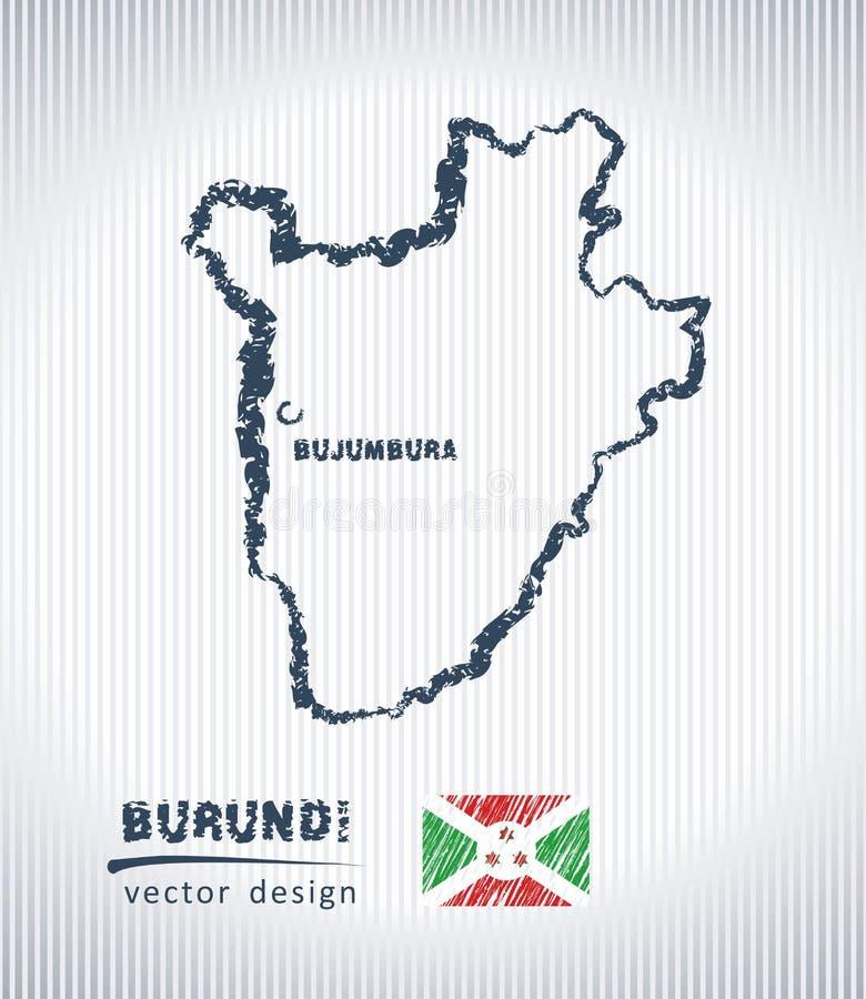 Mapa del dibujo de tiza del vector de Burundi aislado en un fondo blanco ilustración del vector