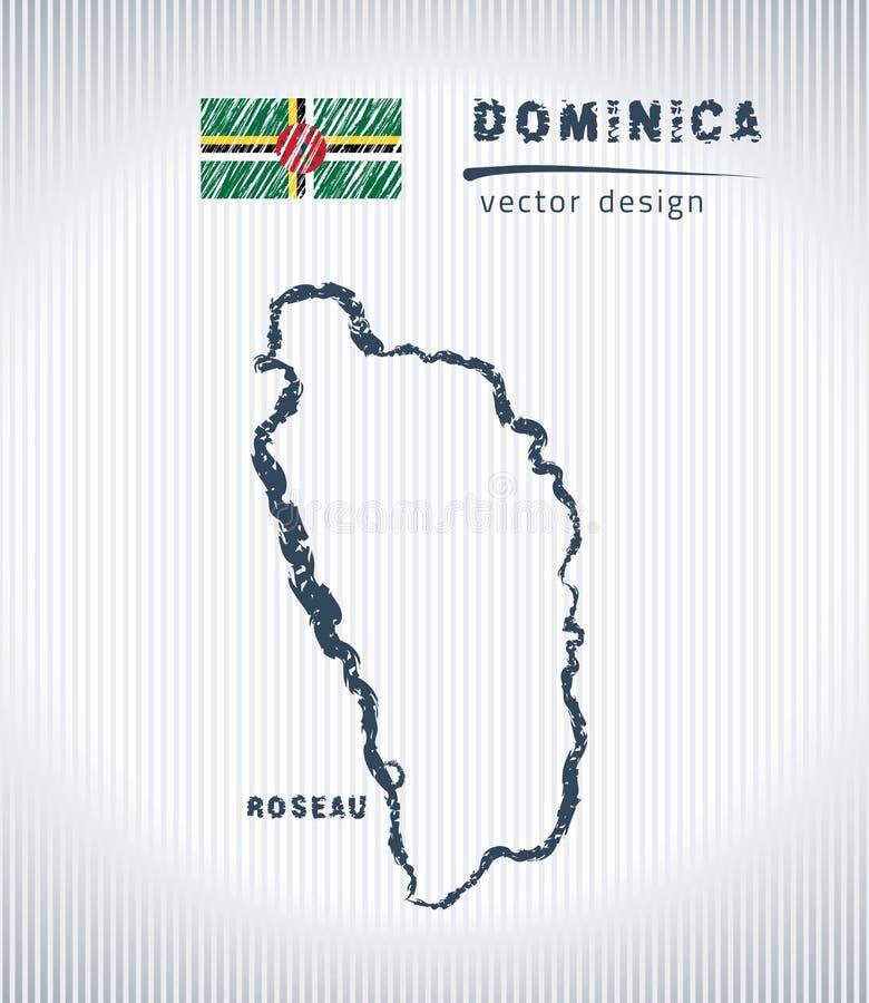 Mapa del dibujo de tiza del vector de Dominica aislado en un fondo blanco stock de ilustración