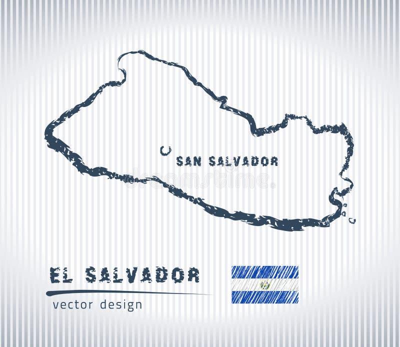 Mapa del dibujo de tiza del vector de El Salvador aislado en un fondo blanco libre illustration