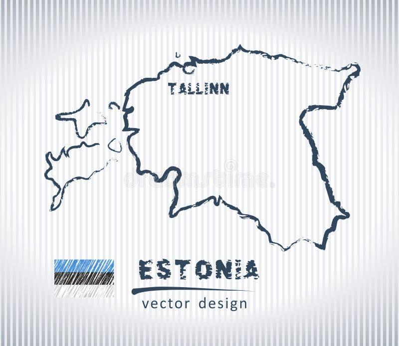 Mapa del dibujo de tiza del vector de Estonia aislado en un fondo blanco libre illustration