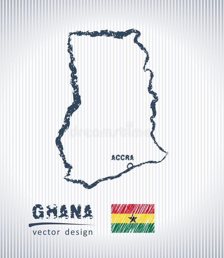 Mapa del dibujo de tiza del vector de Ghana aislado en un fondo blanco stock de ilustración