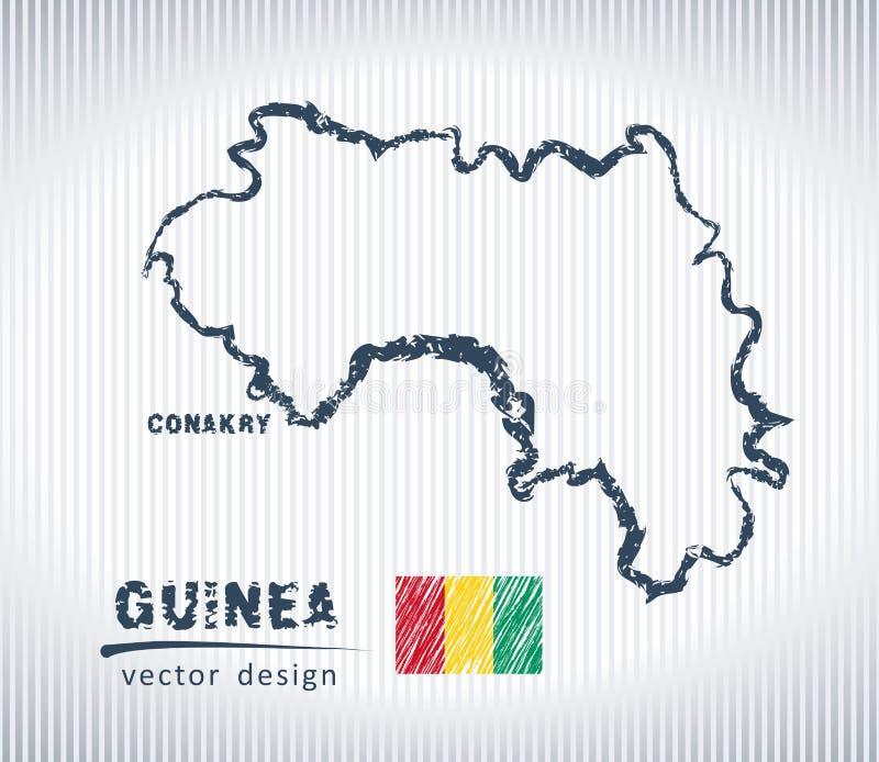 Mapa del dibujo de tiza del vector de Guinea aislado en un fondo blanco libre illustration