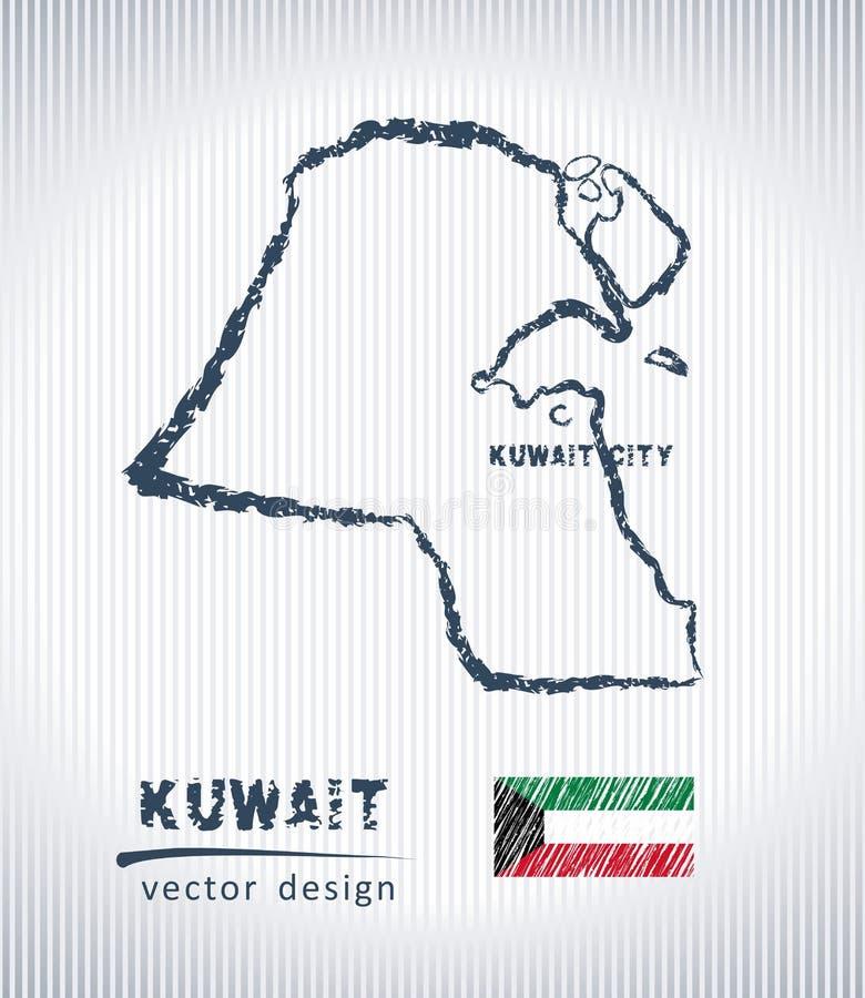 Mapa del dibujo de tiza del vector de Kuwait aislado en un fondo blanco ilustración del vector